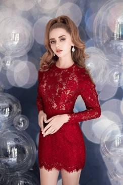 Đầm ren đỏ tay dài thiết kế váy ngắn ôm body đẹp #1535