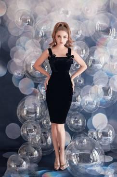 Đầm nhung đen đẹp thiết kế 2 dây nơ dễ thương #1534