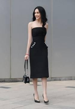 Đầm ống đen đẹp thiết kế váy chữ A đính ngọc trai #1482