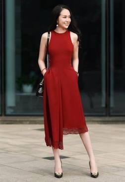 Đầm đỏ dự tiệc đẹp thiết kế lệch vai viền ren #1512