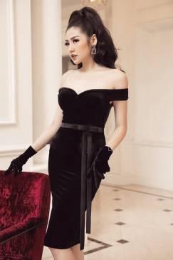 Đầm nhung đen trễ vai thiết kế ôm body tuyệt đẹp #1541