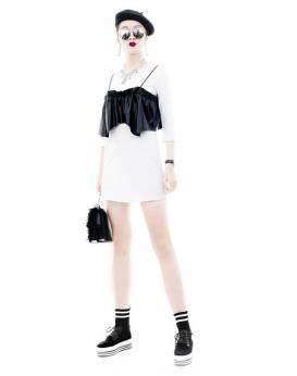 Đầm trắng tay dài thiết kế kèm áo 2 dây da trẻ trung #1529