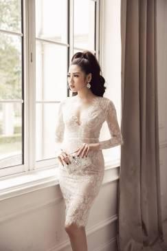 Đầm ren trắng dự tiệc thiết kế ôm body dài tay đẹp #1558