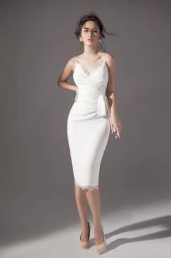 Đầm trắng dự tiệc đẹp thiết kế 2 dây ôm body tuyệt đẹp #1551