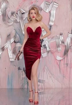 Đầm nhung đỏ đẹp thiết kế cúp ngực xe bên hông #1561