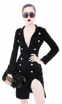 Đầm vest đen dự tiệc thiết kế tay dài hở ngực sexy #1546