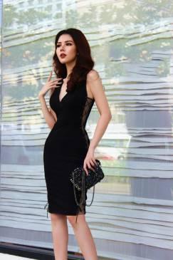 Đầm đen ôm body đẹp thiết kế pha lưới da sexy #1545