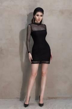 Đầm lưới dài tay đẹp thiết kế ôm body cá tính #1547
