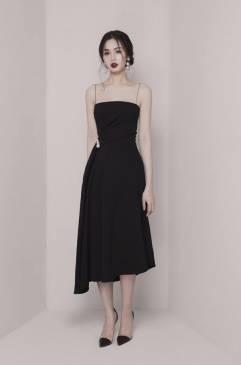 Đầm xòe đen 2 dây thiết kế sang trọng, quý phái #1610