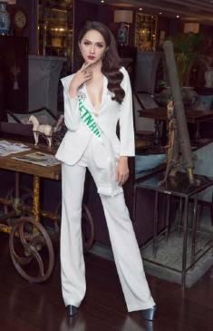 Bộ áo vest trắng tay dài và Quần ống suông như Hương Giang #1617