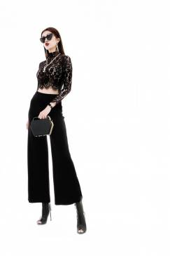 Bộ áo ren đen tay dài và Quần ống suông tuyệt đẹp #1615