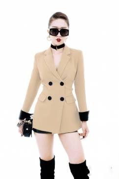 Bộ áo vest nude tay dài và Quần short cực cá tính #1596