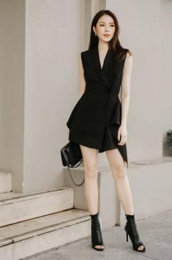 Đầm vest đen dự tiệc thiết kế sang trọng quý phái #1611