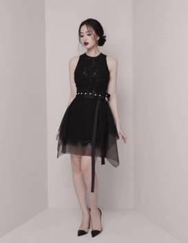 Đầm ren đen dự tiệc thiết kế dáng chữ A tuyệt đẹp #1616