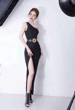 Đầm dài đen lệch vai xẻ tà thiết kế ôm body đẹp #1625