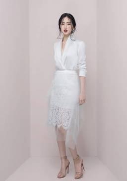Bộ áo phi lụa trắng tay dài và Chân váy ren pha lưới đẹp #1631