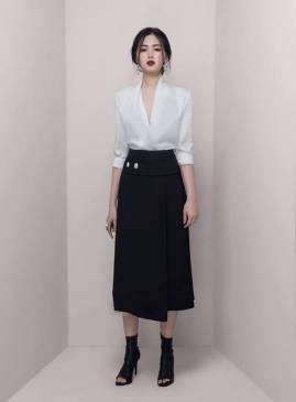 Bộ áo phi trắng cổ tim và Chân váy dài đen chữ A tuyệt đẹp #1636