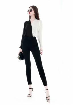 Bộ áo trắng đen tay dài và Quần ôm body đen tuyệt đẹp #1640