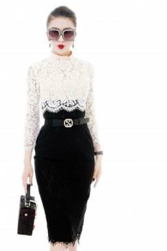 Đầm ren cao cấp thiết kế phối màu trắng đen tuyệt đẹp #1607