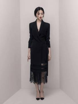 Đầm vest đen phối ren thiết kế from suông trẻ trung #1650