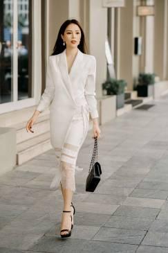 Đầm vest trắng cổ lật thiết kế phối ren tuyệt đẹp #1650