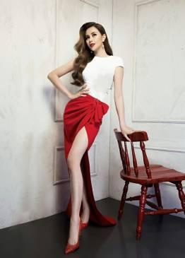 Bộ đầm dạ hội dài đẹp thiết kế nơ eo xẻ tà cao #1670