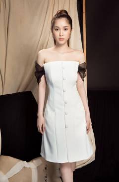 Đầm vest trắng trễ vai thiết kế dáng suông thanh lịch #1663