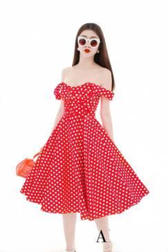 Đầm xòe trễ vai đẹp với họa tiết đỏ chấm bi trắng #1678