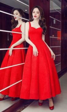 Đầm xòe đỏ đẹp với chất liệu gấm họa tiết nổi cao cấp #1707