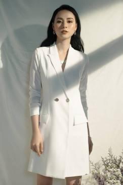 Đầm vest trắng dự tiệc thiết kế phối tay dài voan đẹp #1708