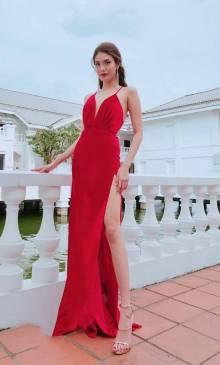 Đầm dạ hội đỏ đẹp thiết kế 2 dây xẻ tà quý phái #1709