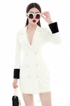 Đầm vest trắng cao cấp thiết kế dài tay tuyệt đẹp #1648