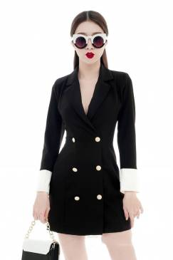 Đầm vest đen cao cấp thiết kế tay dài sang trọng #1648