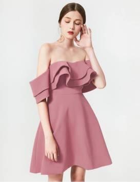 Đầm xòe trễ vai dễ thương thiết kế đơn giản xinh xắn #1662