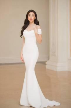 Đầm dạ hội trắng đẹp thiết kế trễ vai đuôi cá đơn giản #1712