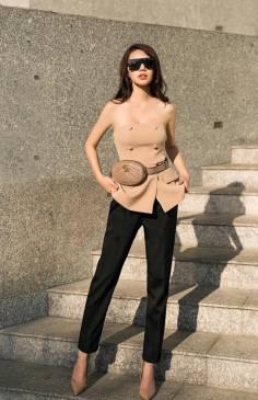 Bộ áo ống nude và Quần tây đen thiết kế sành điệu #1722