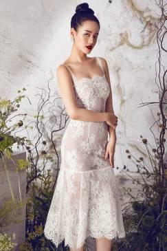 Đầm ren trắng dự tiệc thiết kế 2 dây đuôi cá đẹp #1760