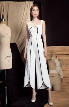 Jumpsuit lửng dự tiệc thiết kế trắng viền đen quý phái #1753