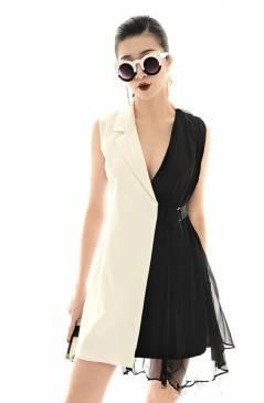 Đầm vest trắng đen đẹp thiết kế sang trọng, quý phái #1737