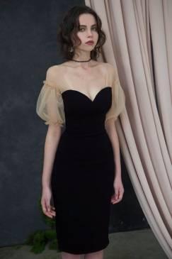 Đầm đen dự tiệc cao cấp thiết kế tay voan da tuyệt đẹp #1741