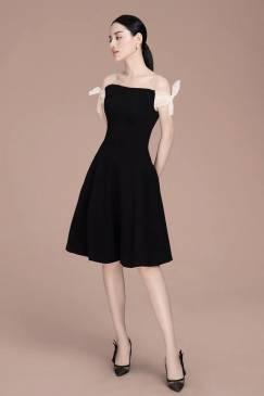 Đầm xòe vai ngang đẹp thiết kế trẻ trung dễ thương #1779