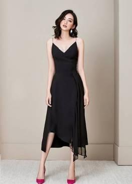 Đầm đen 2 dây cao cấp thiết kế phối voan sang trọng #1783