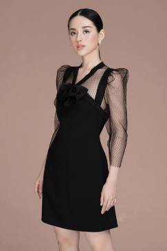 Đầm suông dự tiệc thiết kế phối lưới chấm bi quý phái #1784