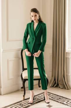 Bộ áo vest tay dài và Quần tây xanh lá tuyệt đẹp #1868