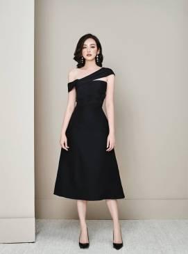Đầm đen chữ A dài thiết kế trễ vai sang trọng, quý phái #1767