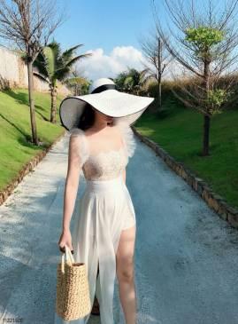 Đầm maxi trắng dạo biển thiết kế phối ren tuyệt đẹp #1859