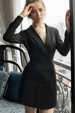 Đầm vest đen dự tiệc thiết kế sang trọng, quý phái #1952