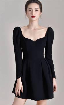 Đầm xòe đen dự tiệc thiết kế tay dài sang trọng #1977
