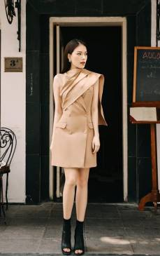 Đầm vest nude dự tiệc thiết kế trẻ trung, tinh tế #1984
