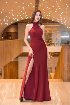 Đầm dạ hôi đô cổ yếm xẻ đùi thiết kế sang trọng # 2196